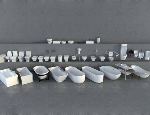 现代简约, 浴室, 浴缸, 蹲厕, 组合