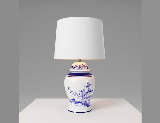 中式, 青花瓷, 台灯