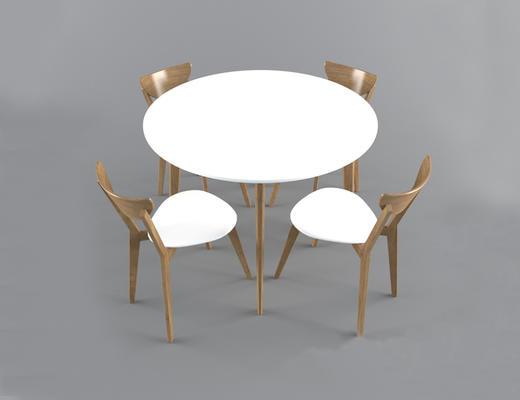 现代简约, 实木, 桌椅组合
