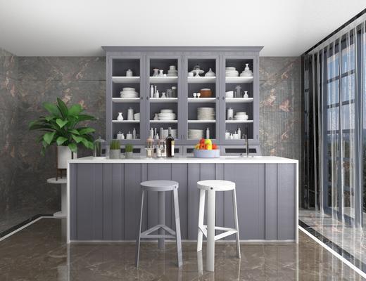 北欧简约, 吧台, 吧椅, 组合, 餐具, 植物