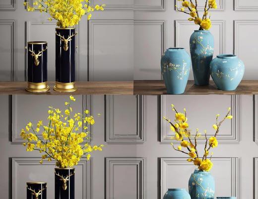 新中式, 花瓶, 陈设品组合