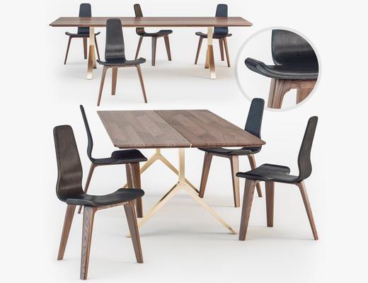 北欧简约, 工业风格, 餐桌椅组合, 桌椅组合