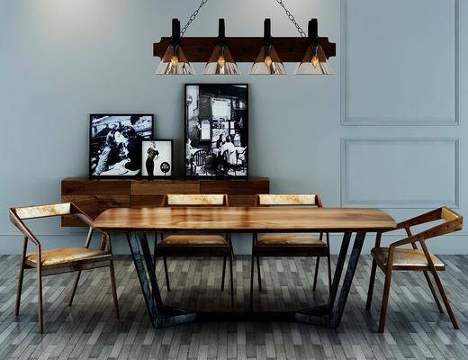 现代简约, 工业风格, 餐桌椅组合, 餐桌, 吊灯, 工业风