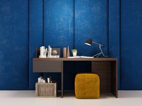 现代简约, 书桌, 台灯, 书籍, 陈设品组合