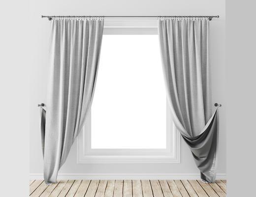 现代简约, 灰色, 窗帘, 现代窗帘