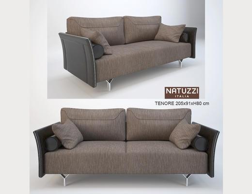 现代简约, 褐色, 沙发, 多人沙发