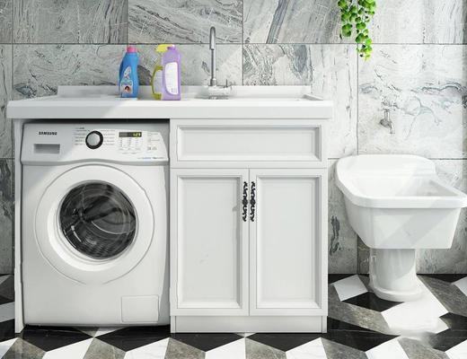 现代简约, 洗衣机, 洗手台, 组合