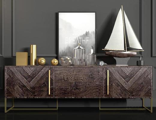 现代简约, 美式简约, 实木, 边柜, 组合