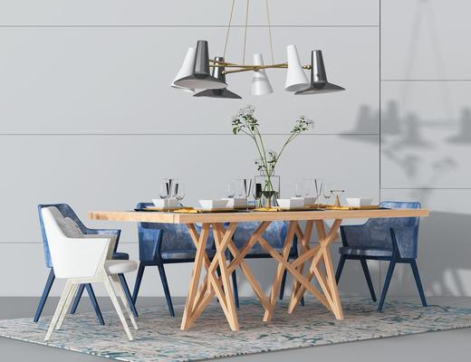 桌椅组合, 餐桌椅, 吊灯, 餐具, 北欧