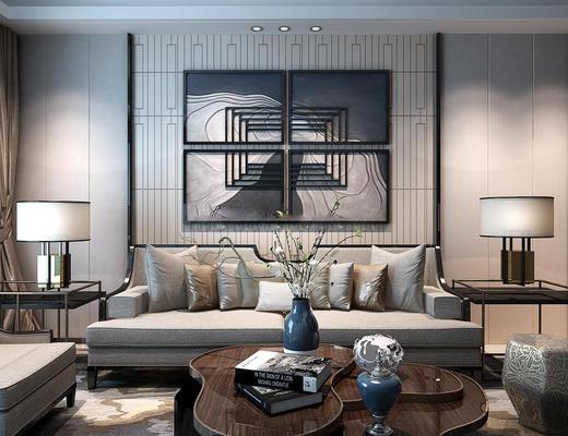 新中式客厅, 沙发茶几组合, 沙发组合, 客厅, 新中式