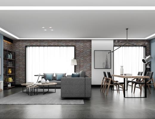 客厅, 餐厅, 现代客厅, 北欧客厅, 沙发茶几组合, 桌椅组合