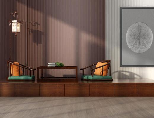 中式, 坐垫, 茶台, 茶几, 落地灯