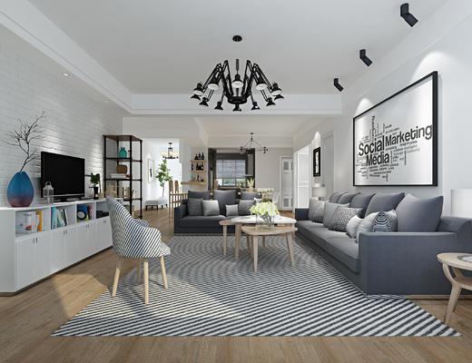 北欧, 现代, 客厅, 沙发茶几夬, 沙发组合