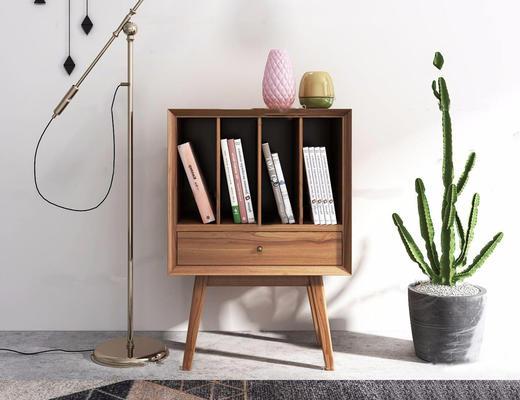 北欧简约, 装饰架, 植物, 书籍, 柜