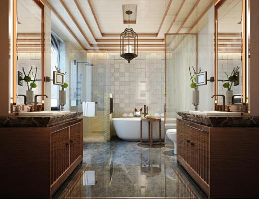 卫生间, 浴缸, 淋浴间, 洗手台, 吊灯, 镜子, 洗漱台, 东南亚