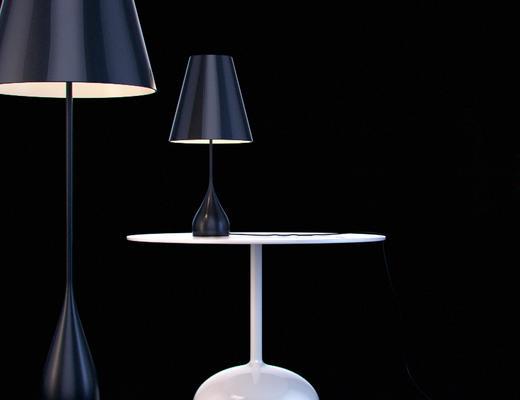 台灯, 圆几, 灯具, 落地灯, 现代, 下得乐3888套模型合辑