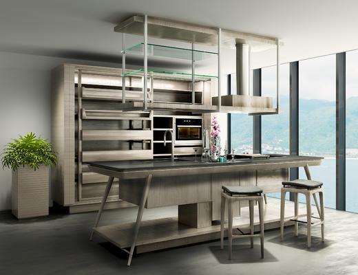 现代简约, 吧台吧凳组合, 置物架, 置物