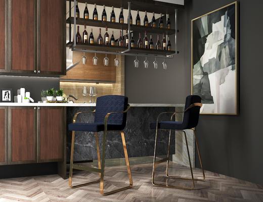 美式简约, 厨房, 吧台, 吧椅, 组合, 餐具