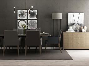 现代简约, 餐桌椅组合, 边柜, 陈设品组合, 餐具