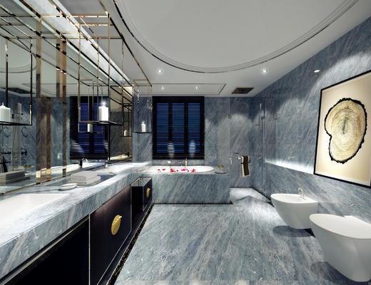 卫生间, 洗手台, 浴缸, 便器