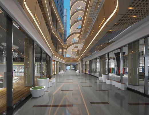 现代, 商场, 走廊, 过道, 吸顶灯, 墙饰