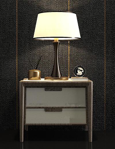 现代简约, 实木, 床头柜, 台灯, 组合
