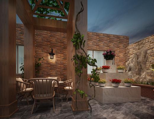 阳台, 花园, 洗衣机, 晾晒, 藤蔓, 阳光房, 遮阳伞, 休闲椅, 现代