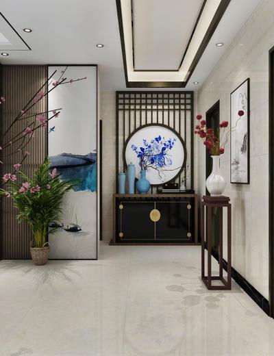 中式, 餐厅, 走道, 月亮门