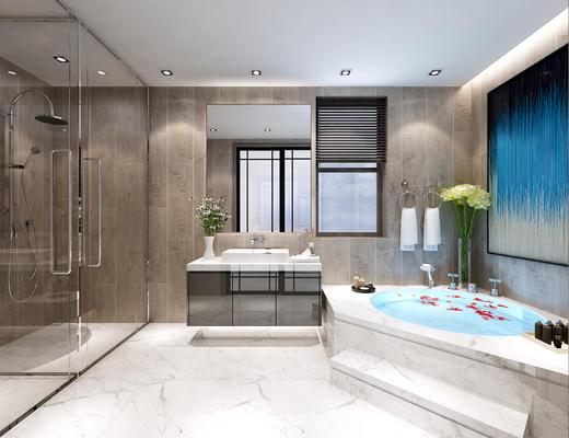 浴缸, 洗手台, 淋浴间, 卫生间