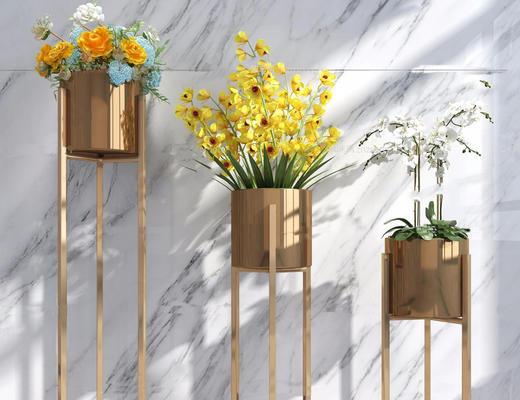 现代简约, 铜色, 植物, 盆栽