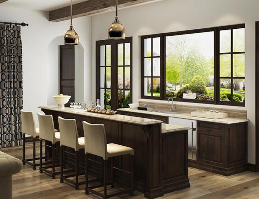 美式简约, 古典, 吧凳吧椅组合, 吊灯