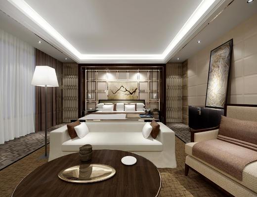 客房, 酒店客房, 酒店包间, 中式客房, 床具组合, 沙发茶几组合