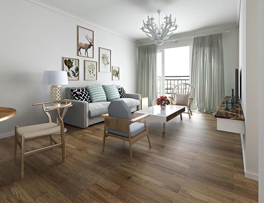 客厅, 沙发茶几组合, 沙发组合, 现代客厅, 北欧客厅