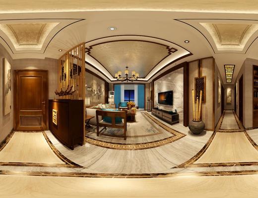客厅, 餐厅, 中式, 新中式, 沙发组合, 沙发茶几组合